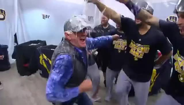 Brewers, Happy, Highlights, MLB, celebrate, uecker, Bob Uecker celebrates with the Brewers | Sep 26, 2018 GIFs