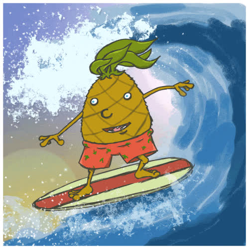 pineapple, surf, surfing, 🍍 pineapple GIFs
