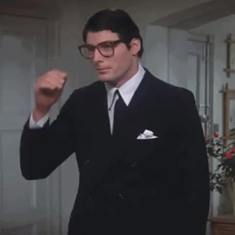 Reeves physical acting as he switches between Clark Kent and Superman