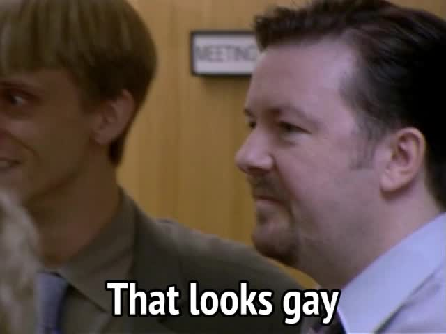 Ricky Gervais, The Office, gay, ha gay, stupid, that seems gay, that seems stupid, That looks gay GIFs