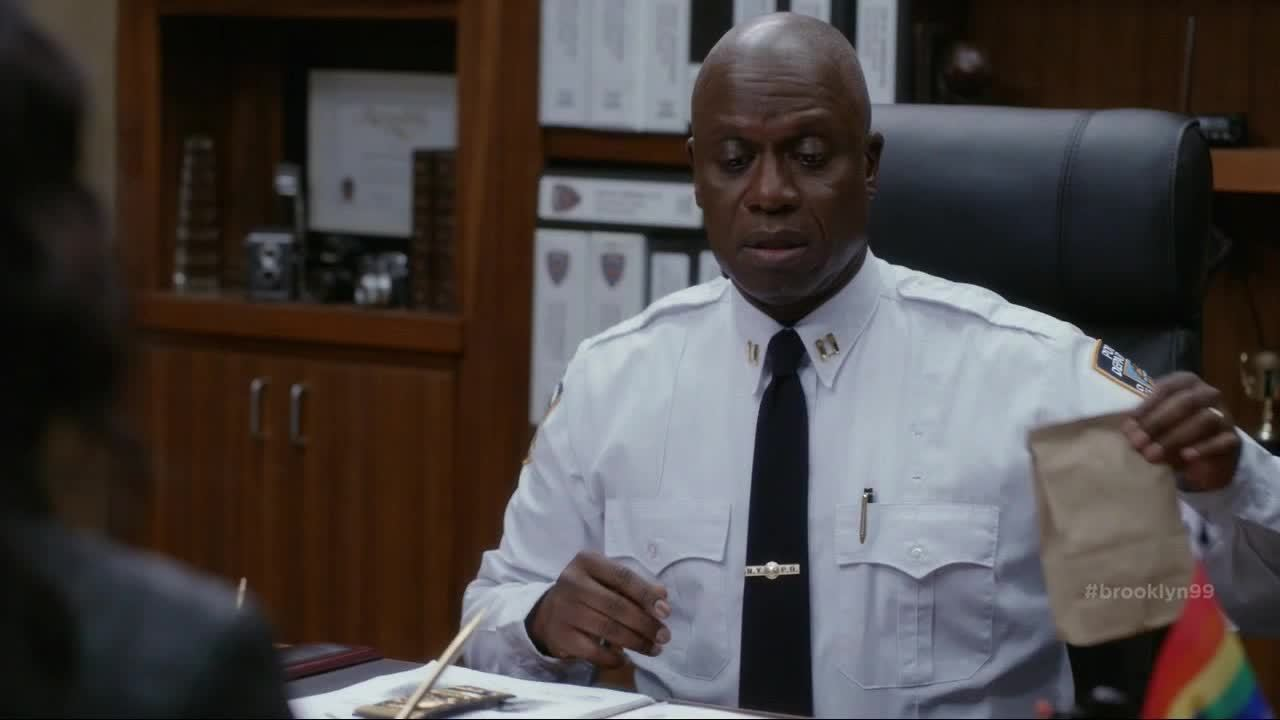 Andre Braugher, brooklynninenine, And as your friend I have this.. brassiere you left behind in Marcus's room (reddit) GIFs