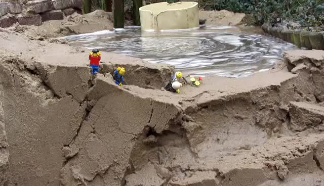 Watch and share Dam Breach:  Lego Men In Danger By The Flood... GIFs on Gfycat