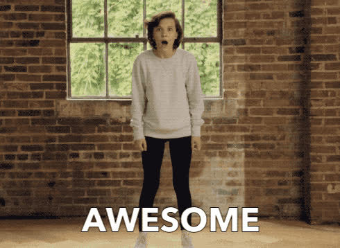 awesome, bobby, brown, dance, excited, happy, jump, millie, stranger, things, Awesome! GIFs