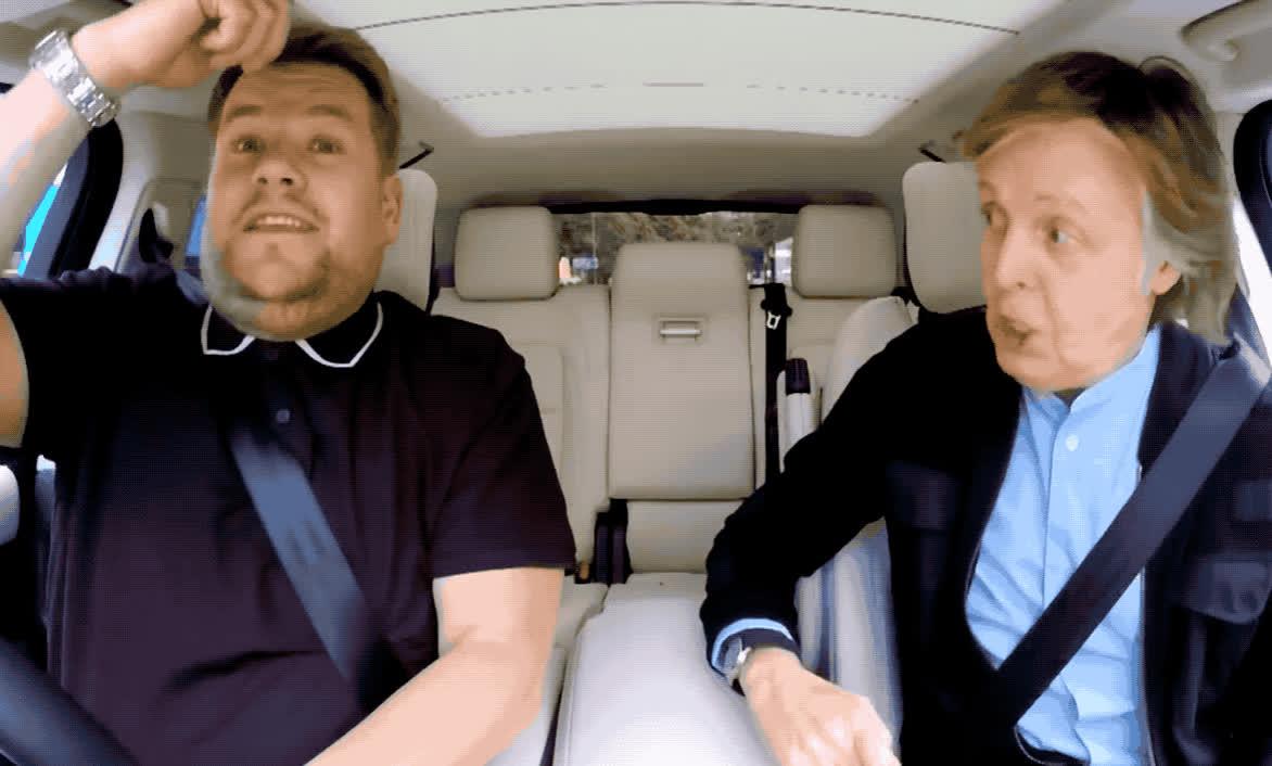 carpool, celebrity, celebs, corden, funny, hilarious, james, karaoke, late, late late, lol, mccartney, paul, show, Paul McCartney - Carpool karaoke GIFs