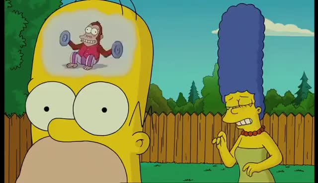 Watch and share Mose Mai Monkey - The Simpsons Movie (Homer's Train Of Thought) GIFs on Gfycat