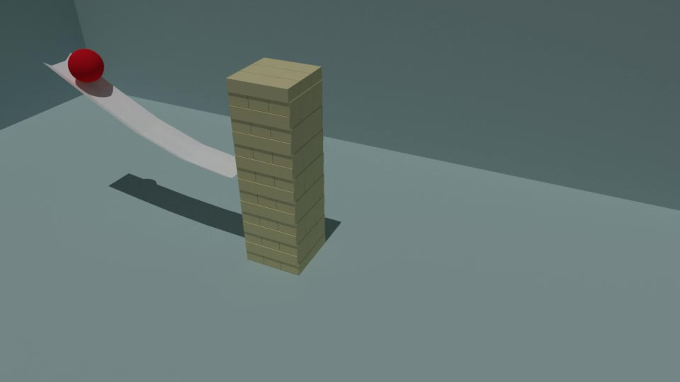Simulated, Blender Jenga Blocks GIFs