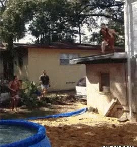 Watch and share Belly Flop Into Blow Up Pool GIFs on Gfycat