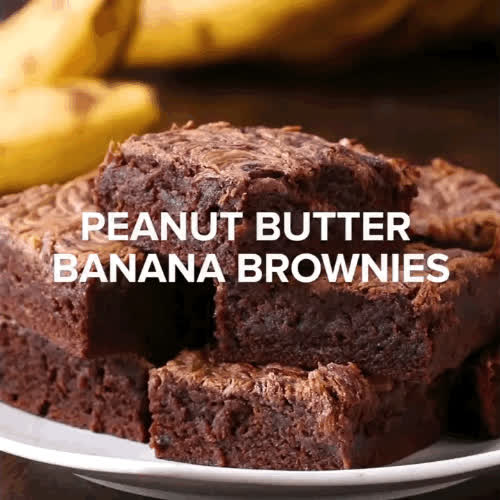 GifRecipes, Peanut Butter Banana Brownies (reddit) GIFs