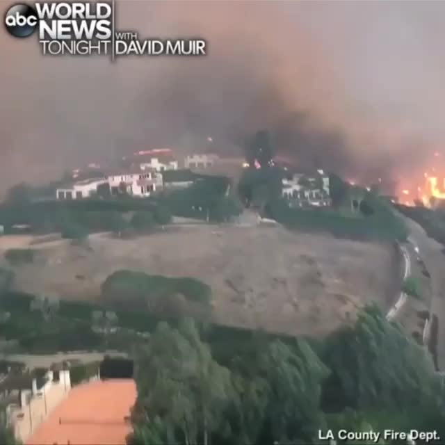 aerial, california, fire, firefighter, helicopter, losangeles, malibu, wildfire, woolsey, woolseyfire, DEADLY TURN: New video released by the Los Angeles County Fire Department shows a chopper flying low over the Woolsey Fire in Southern Calif GIFs