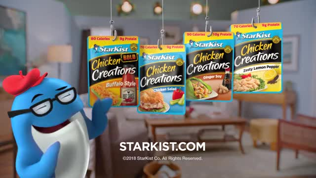 Watch StarKist® TV Commercial -- New Chicken Creations™ Pouches! GIF on Gfycat. Discover more Entertainment, StarKistCo, candace cameron bure, chicken, healthy eating, healthy living, pouch, protein, starkist, starkist charlie GIFs on Gfycat