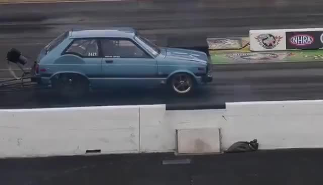 """Watch and share """"SCORCHIN"""" 7SEC STARLET! '82 TOYOTA STARLET/MAZDA 13B AT RT66 GIFs on Gfycat"""