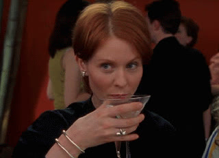 Cynthia Nixon, cheers, cool story bro, martini, mhmm, miranda, ok, right, sex and the city, whatever, Miranda Cheers GIFs