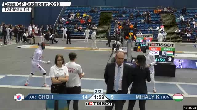 Watch CHOI I 15 GIF by Scott Dubinsky (@fencingdatabase) on Gfycat. Discover more gender:, leftname: CHOI I, leftscore: 15, rightname: f MIHALY K, rightscore: 9, time: 00008098, touch: left, tournament: budapest2019, weapon: epee GIFs on Gfycat