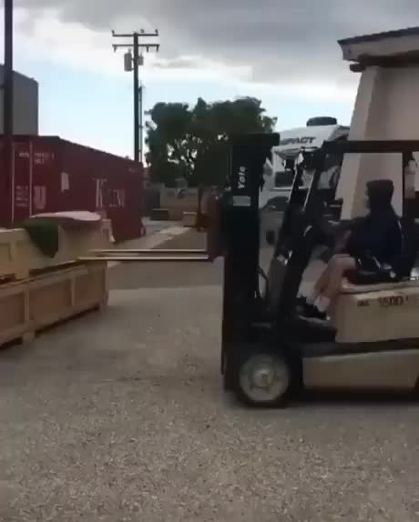 Letting your kid drive a forklift