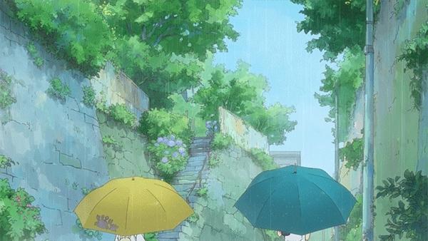 animegifs, Walking in the rain [Aiura] (reddit) GIFs