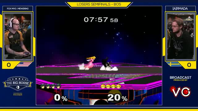 TBH6 SSBM - FOX MVG | Mew2King (Marth) Vs. [A]rmada (Peach) - Smash Melee Losers Semifinals