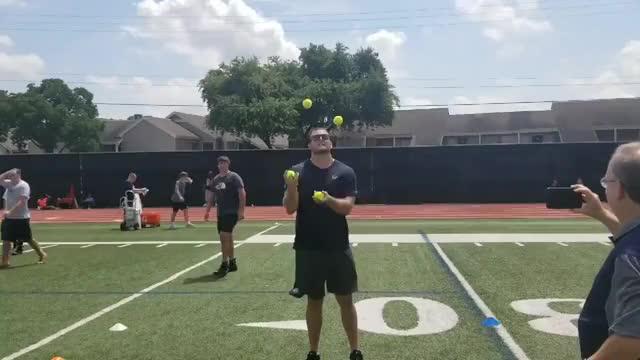Watch and share  Texans OL Rick Leonard Is A Pretty Good Juggler GIFs on Gfycat