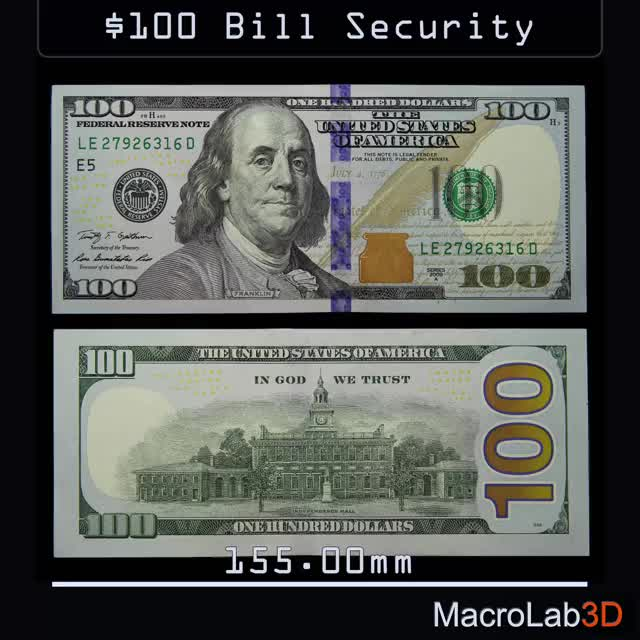 Watch Security Features Of The $100 Bill GIF by MacroLab3D (@macrolab3d) on Gfycat. Discover more $100, 100USD, 3D, Watermark, macro, security features, under UV GIFs on Gfycat