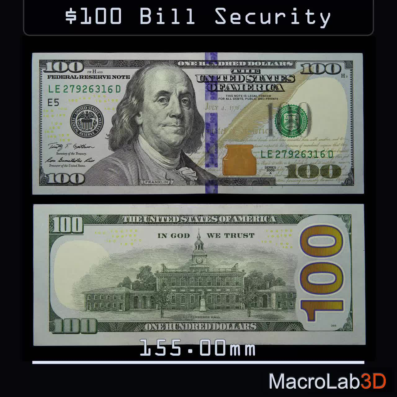 $100, 100USD, 3D, Watermark, macro, security features, under UV, Security Features Of The $100 Bill GIFs