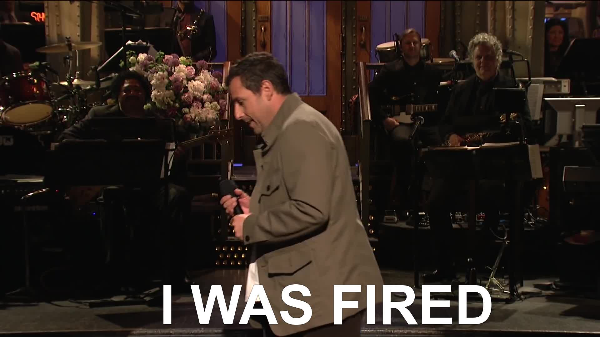 adam sandler, comedy, fired, saturday night live, snl, Adam Sandler I Was Fired SNL Monologue GIFs
