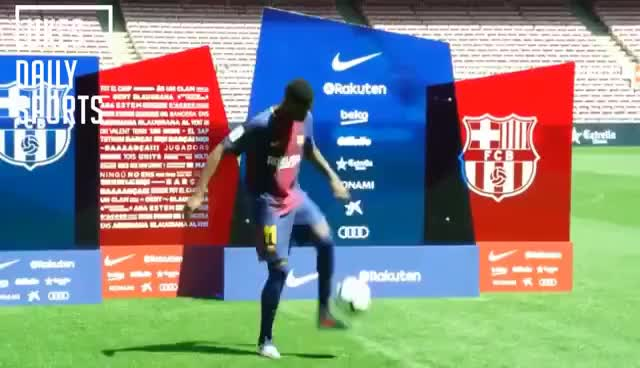 Watch and share Dembele's Keepy-up FAIL At Barcelona Unveiling GIFs on Gfycat