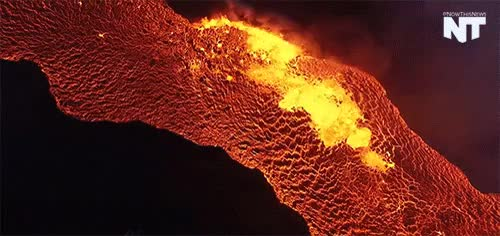 Watch fissure GIF on Gfycat. Discover more Eric Cheng, Holuhraun, Iceland, Lava, camera, drone, gif, media, nature, nowthis GIFs on Gfycat