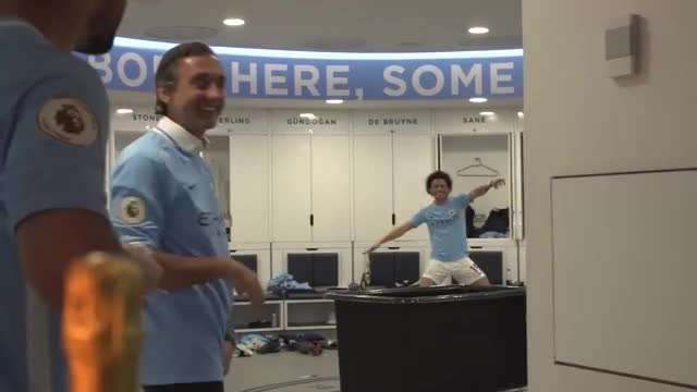 Watch DRESSING ROOM EXCLUSIVE! | Man City Premier League Champions 2017/18 GIF on Gfycat. Discover more EPL, EXCLUSIVE, MCFC, bpl, dances, dancing, funny, soccer, zinchenko GIFs on Gfycat