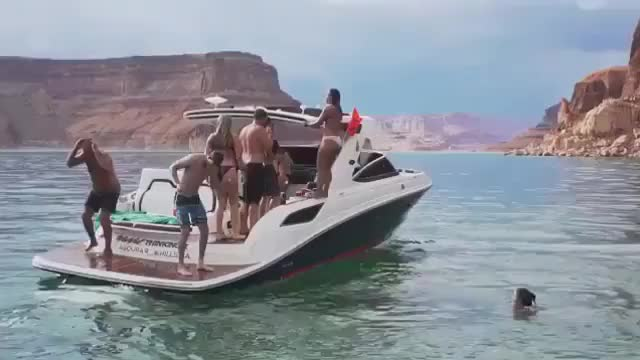 Watch this boat GIF by O-shi (@shishi) on Gfycat. Discover more accident, beach, boat, boating, fun, funny, jump, jumper, ofdvs, party, swim, transportation, water, woman, women GIFs on Gfycat