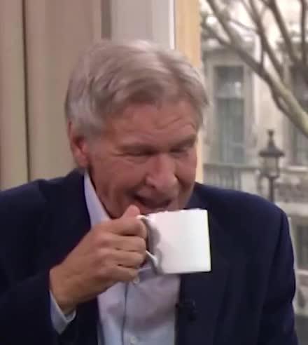 coffee, ford, harrison, harrison ford, laugh, lol, loud, morning, this, Harrison Ford   This Morning GIFs