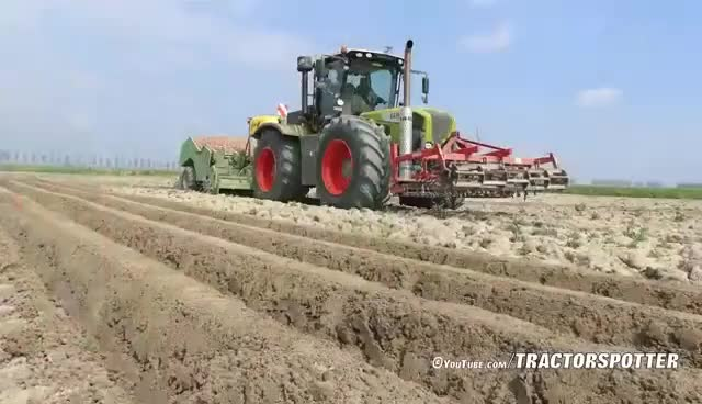 Watch and share Planting Potatoes Using A 380 HP Claas Xerion 3800 & Miedema CP42 Cup Planter | NIVU Achthuizen GIFs on Gfycat
