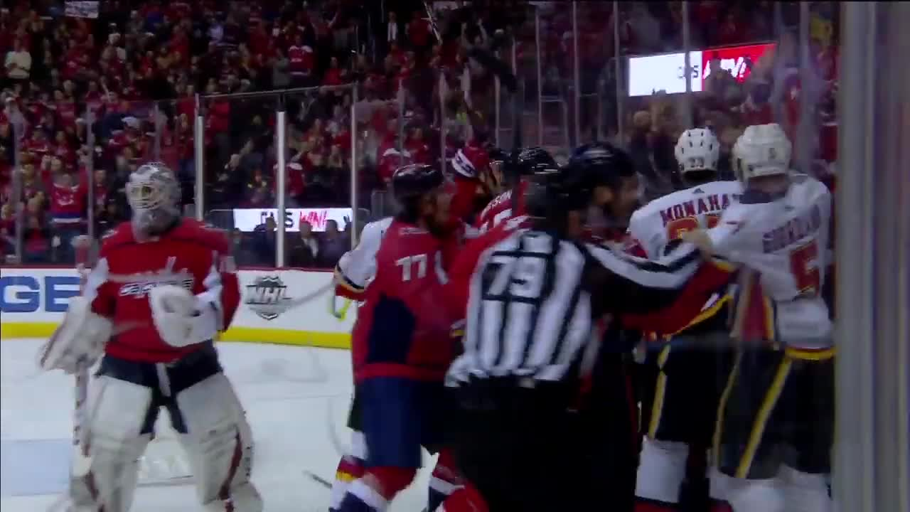 fight, fighting, hockey, Braden Holtby gets involved in scrum GIFs