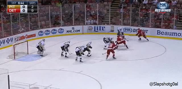 Watch and share Tyler Bertuzzi Preseason PP Goal Vs Penguins GIFs by slapshotgoal on Gfycat