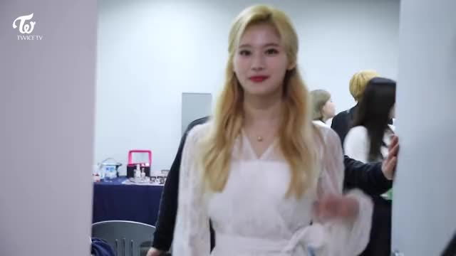 TWICE TV THE FACT MUSIC AWARDS - Sana Showing off her Necklace GIF