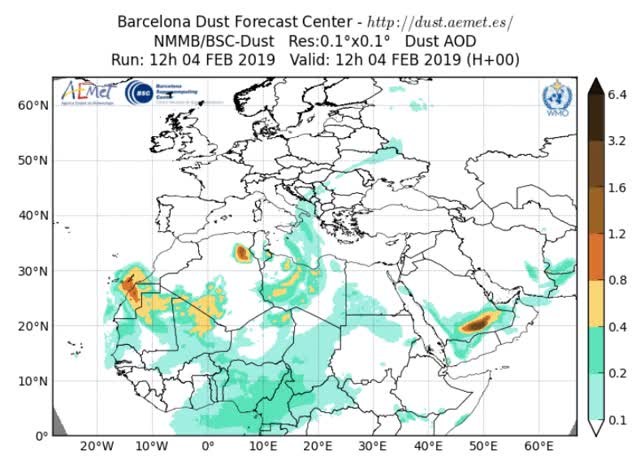 Watch and share Europe And Africa Dust Model Run February 4, 2019 GIFs by The Watchers on Gfycat