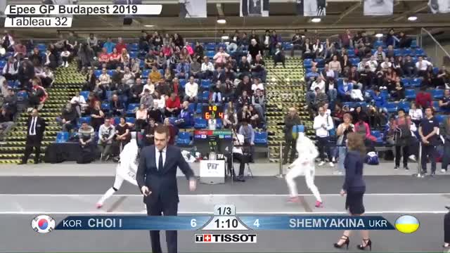 Watch CHOI IV 7 GIF by Scott Dubinsky (@fencingdatabase) on Gfycat. Discover more gender:, leftname: CHOI IV, leftscore: 7, rightname: fSHEMYAKINA, rightscore: 4, time: 00015125, touch: left, tournament: budapest2019, weapon: epee GIFs on Gfycat