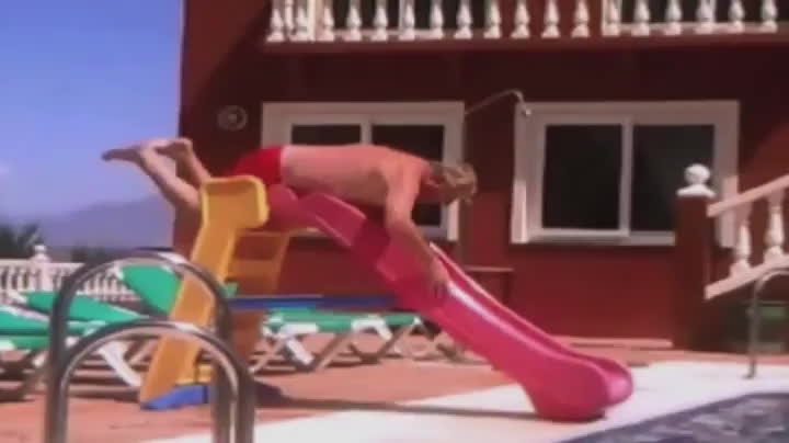 funny, pool, Pool slide GIFs
