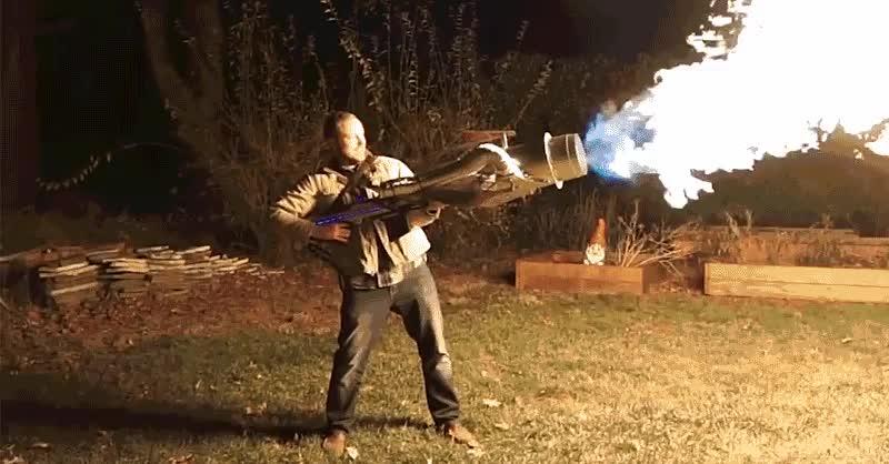 diy, fire, flamethrower, hot, Homemade flamethrower GIFs