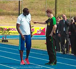 Prince Harry racing Usain Bolt GIFs
