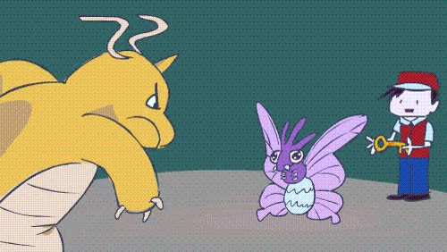 I made a gif of All Terrain Venomoth beating Dragonite : twitchplayspokemon GIFs