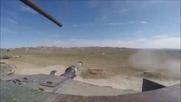 Watch and share M1A1 Main Gun Firing Plus .50 Cal Hitting Targets (reddit) GIFs on Gfycat