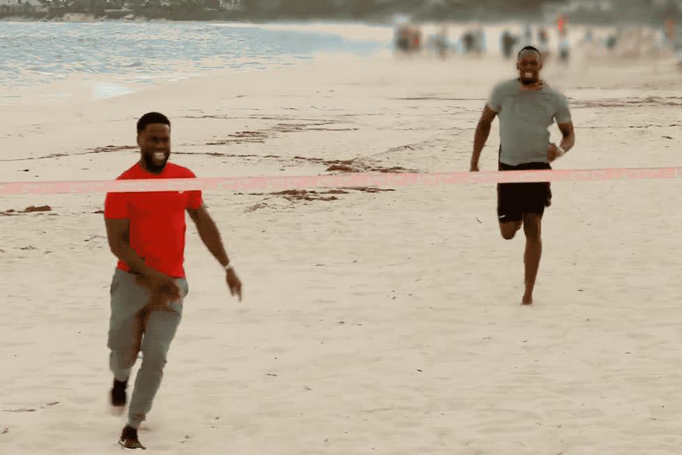 beach, bolt, epic, funny, ha, haha, hart, joke, kevin, kevin hart, laugh, lol, loud, olympic, out, pokerstars, race, run, usain, winner, Kevin Hart races Usain Bolt  GIFs