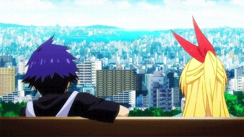 anime cap, anime love, chitoge, chitogexraku, city, kawaii, kawaii couple, lovely couple, manga cap, manga love, nisekoi, raku, rakuxchitoge, tsundere, tsundere girl,  GIFs