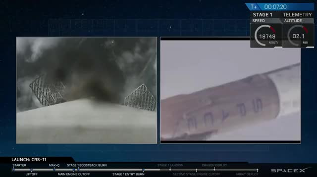 Watch and share Falcon 9 With CRS-11 Landing [@blamedrop] GIFs by blamedrop on Gfycat