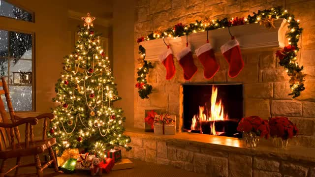 Watch and share Christmas Scene - Christmas Fireplace - Christmas Tree & Snowfall GIFs on Gfycat