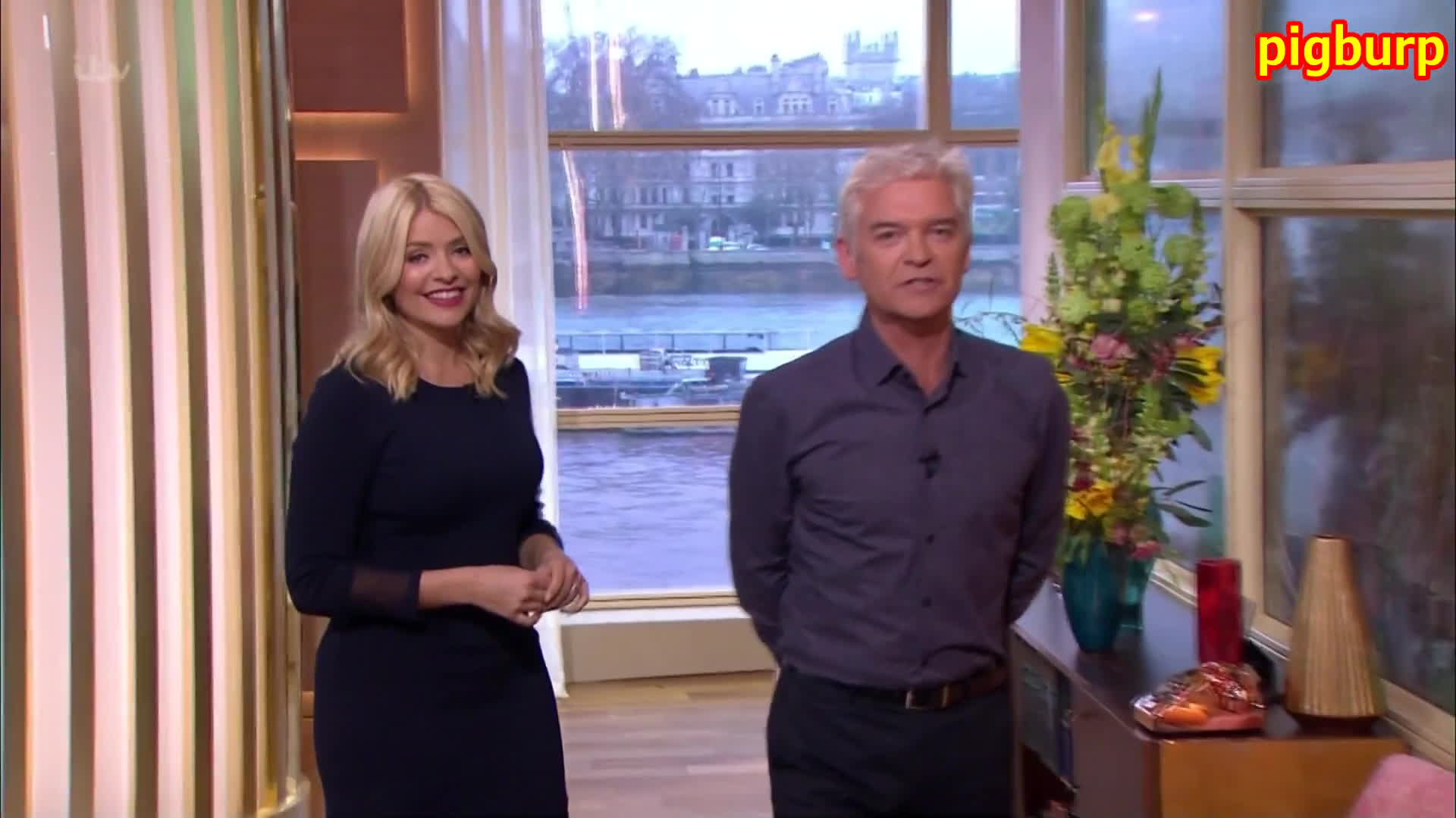 Holly Willoughby, TheHollyWilloughby, thehollywilloughby, Holly Willoughby: Blue Dress, Glorious Rear (This Morning) GIFs