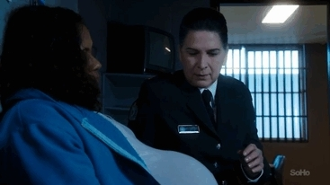 Doreen Anderson, Governor, Joan Ferguson, Pamela Rabe, Shareena Clanton, Wentworth, Wentworth Prison, bob, gay, goldfish, kiss, lesbian, pregnant, prison, teal, the Freak, viridian blue, Joan Ferguson and Doreen Anderson,