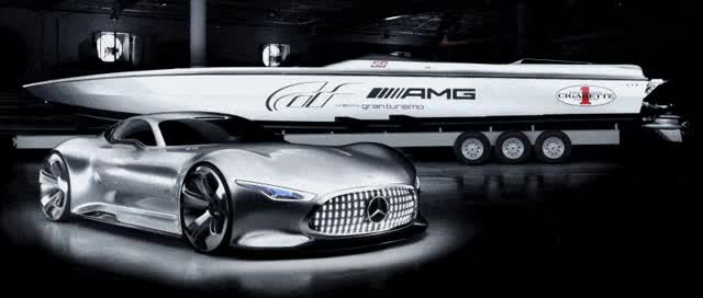 Watch and share AMG Miami Boat Shows Long Dongs -- Mercedes-Benz Extenzzzes Vision GranTurismo Ethos To New 50-ft Racing Boat GIFs on Gfycat
