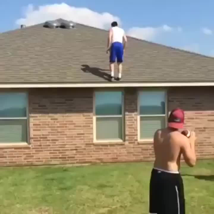 holdmybeer, HMB so I can catch a football while doing a backflip off the roof GIFs