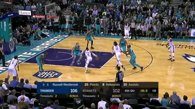 Watch Russ Crossover GIF on Gfycat. Discover more Charlotte Hornets, Game, Highlights, Oklahoma City Thunder, RussellWestbrook, Sports, amazing, basketball, crossover, games, hoops, nba, plays, shamgod, westbrook GIFs on Gfycat