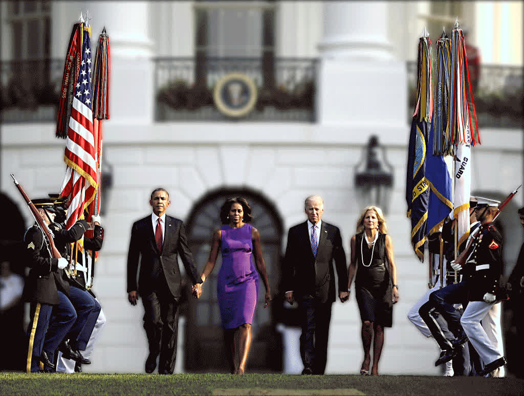 photoshopbattles, PsBattle: The Obama's and Biden's Walk Away from White House (reddit) GIFs